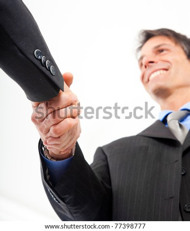 Tow businessmen shaking hands - stock photo