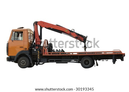tow car under the white background - stock photo