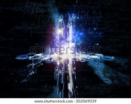 Toward Technology series. Background design of light trails and fractal structures on the subject of science, education and technology - stock photo