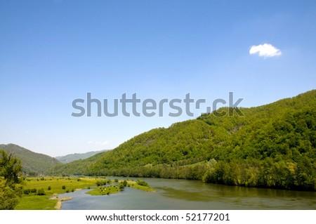 towards the Carpathians, in western Romania - stock photo