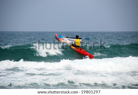 Towards to a wave, the Mediterranean coast of Israel - stock photo