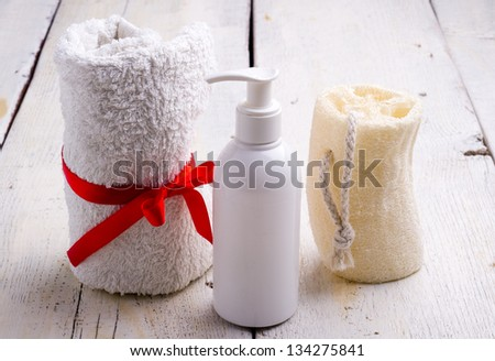towel and toiletries - stock photo