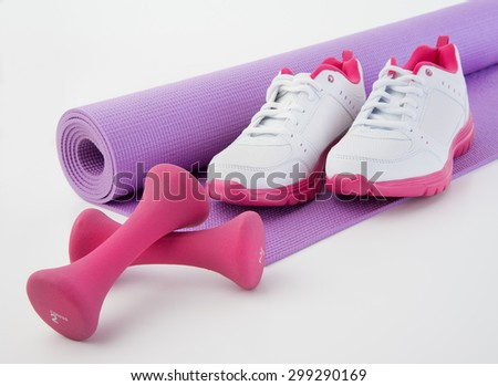 Towel for sweat to hydrate after workout with hand weights - stock photo