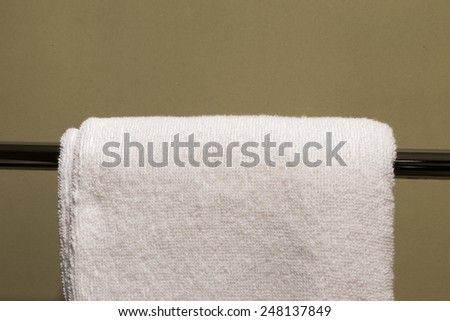 towel hanging on the Clothes line (Close up) - stock photo