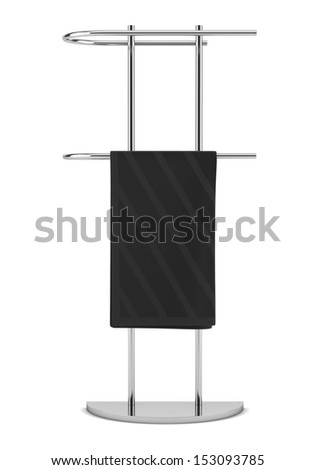 towel on standing hanger isolated on white background