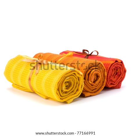 Towel roll  isolated on white background - stock photo