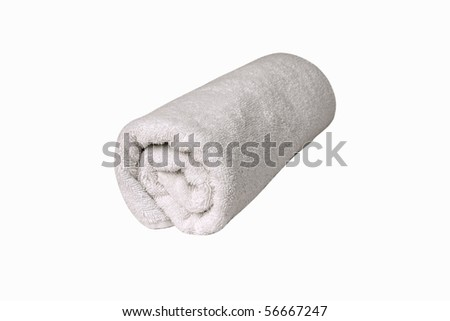Towel Roll [with Clipping Path and isolated on white background] A single white towel rolled up, with clipping path & isolated on white background - stock photo