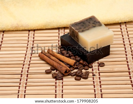 Towel, soap with coffee and cinnamon, SPA