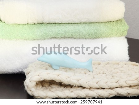 Towel stack in the shower taken closeup. - stock photo