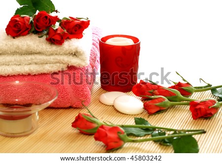 towels, candles and roses