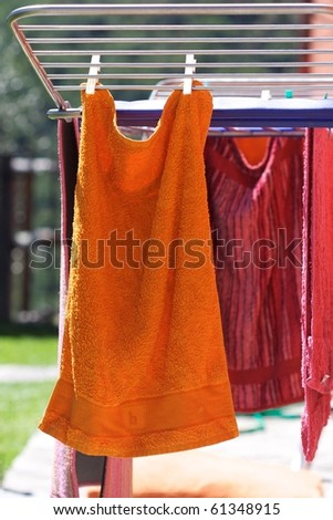 Towels drying on the clothesline. - stock photo