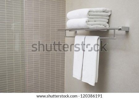 towels for couple prepared to use. - stock photo