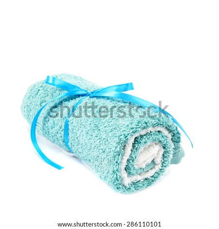 Towels isolated on white background. - stock photo