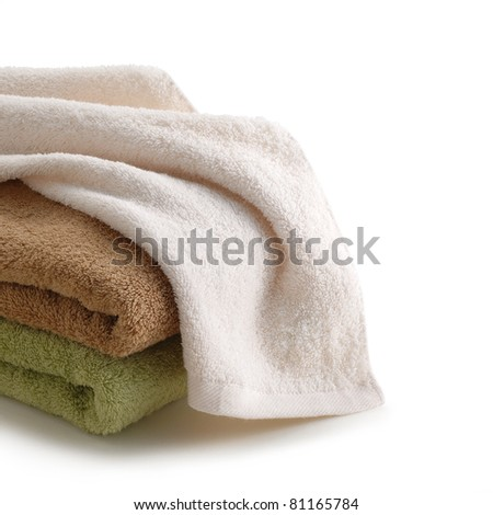 Towels on white background - stock photo