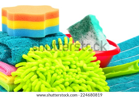 Towels, sponge, microfiber, bowl, supplies for cleaning, household equipment isolated on white - stock photo