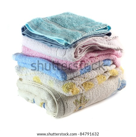towels stacked on White Background - stock photo