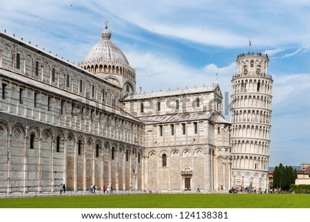 Tower and cathedral at the meadow of miracles, Pisa, Italy - stock photo
