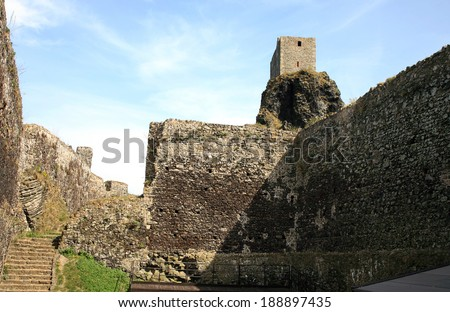 Tower and courtyard of Trosky castle in Czech Republic - stock photo