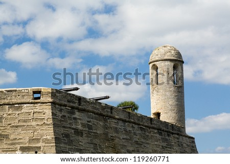 Tower and details of walls of Castillo de San Marcos in St Augustine Florida FL - stock photo