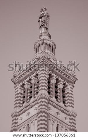 Tower and Vigen Mary of Baslique Notre Dame de la Garde Church, Marseilles, France, Europe - stock photo