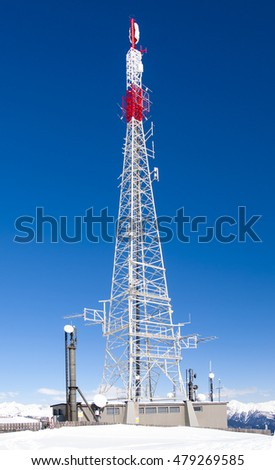 Tower antenna in mountains (Alps)