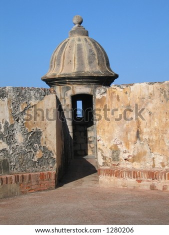 Tower at El Morro fort in Puerto Rico - stock photo
