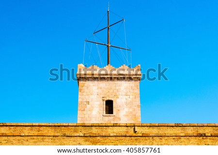tower at montjuic castle, barcelona, spain - stock photo