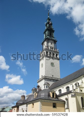 tower at the shrine of Our Lady of Czestochowa at Jasna Gora in Poland - stock photo
