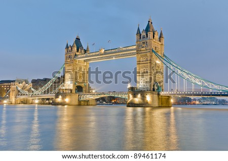 Tower Bridge across Thames river at London, England - stock photo