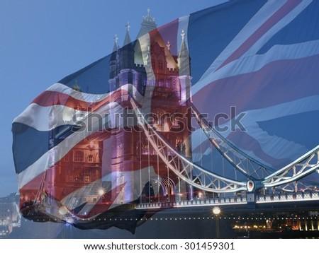 Tower Bridge and British Flag merged, double exposure shot of flag and historic Tower Bridge - stock photo