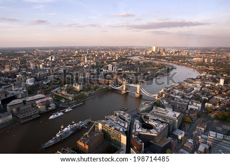 Tower Bridge and Canary Wharf, the financial district, from The Shard, London, United Kingdom, UK, Europe - stock photo