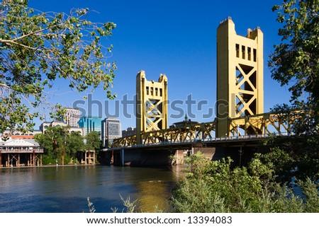 Tower Bridge and downtown Sacramento - stock photo