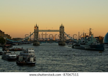 Tower Bridge and HMS Belfast in London - stock photo
