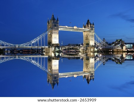 Tower Bridge and reflection- London - stock photo