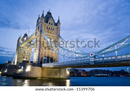 Tower Bridge and River Thames by night - stock photo