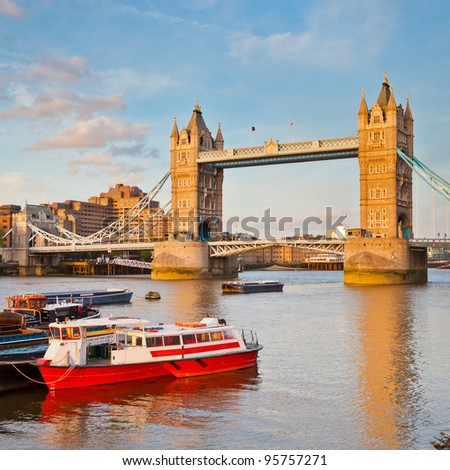 Tower Bridge and Thames - stock photo