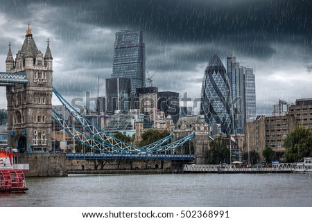 Tower Bridge and the City of London during a rainy day, United Kingdom