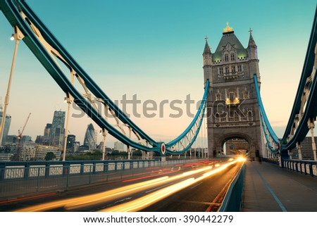 Tower Bridge and traffic in the morning in London. - stock photo