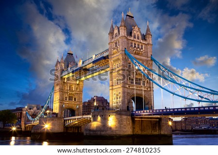 Tower Bridge at dusk in London, United Kingdom - stock photo