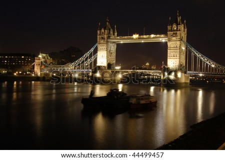 Tower Bridge at night from the South Bank, London, England