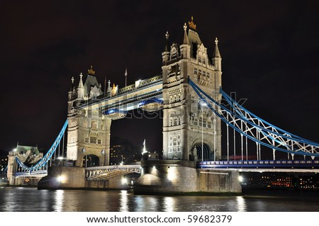 Tower Bridge at night, London, HDR photo - stock photo