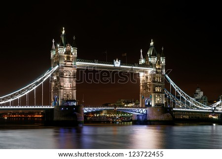 Tower Bridge at night, London, UK. - stock photo
