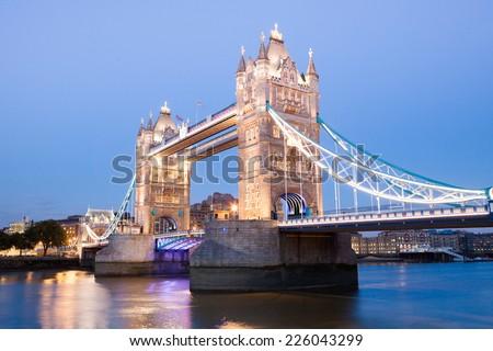 Tower Bridge at night twilight London, England, UK  - stock photo