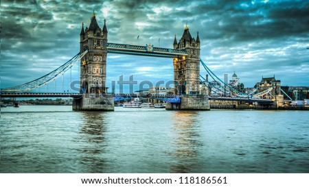 Tower Bridge at sunrise HDR