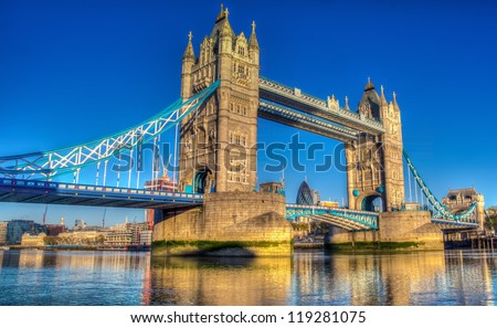 Tower Bridge at sunrise HDR image - stock photo