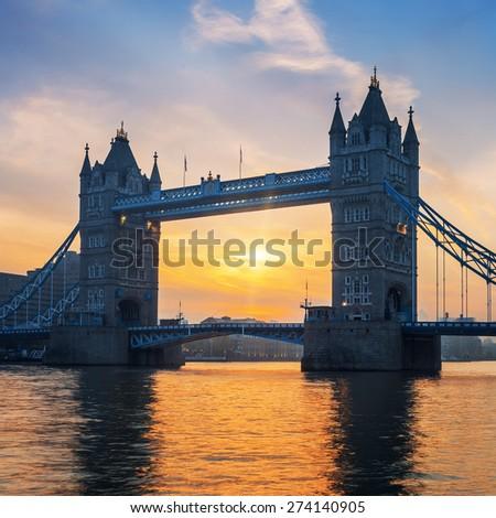 Tower Bridge at sunrise, London. - stock photo