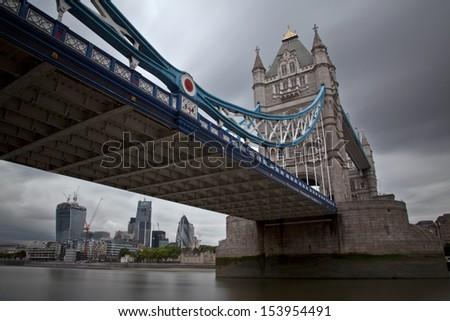 Tower Bridge framing the City of London - Long Exposure - stock photo