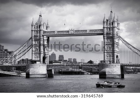 Tower Bridge in London. Black and white retro style. - stock photo