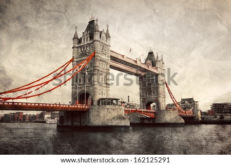 Tower Bridge in London, England, the UK. Artistic vintage, retro style with red elements - stock photo
