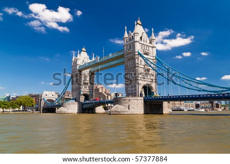 Tower Bridge in London in a beautiful summer day - stock photo